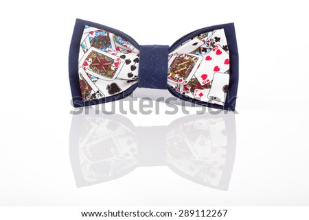 butterfly tie with playing cards - stock photo