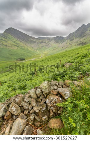 Buttermere looking towards the haystacks in the lake district cumbria - stock photo