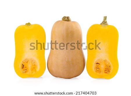 Butternut Pumpkin and halves of Pumpkin isolated on white background - stock photo