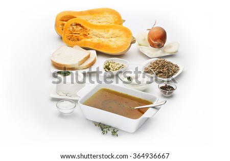 Butternut squash Cucurbita moschata with various ingredients isolated on white background - stock photo