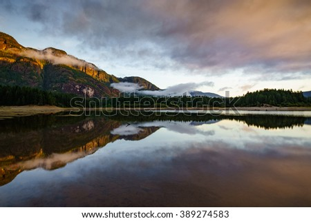 Buttle Lake, Strathcona Provincial Park, Campbell River, British Columbia, Vancouver Island, Canada, Natural and Peaceful Sunrise - stock photo