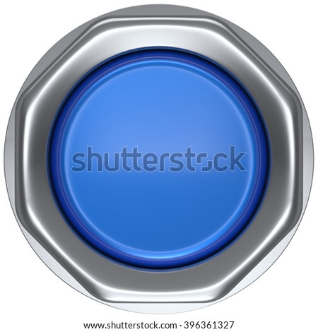 Button blue activate ignition push down military game panic start turn off on action power switch electric design element metallic shiny blank led lamp. 3d render isolated - stock photo