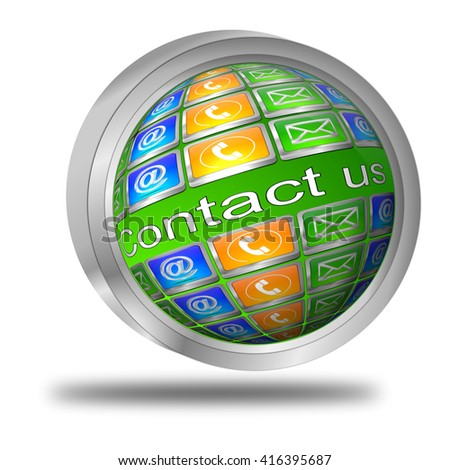 Button contact us - 3D illustration - stock photo
