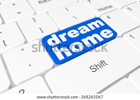 """Button """"dream home"""" on keyboard  - stock photo"""