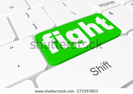 """Button """"fight"""" on keyboard - stock photo"""