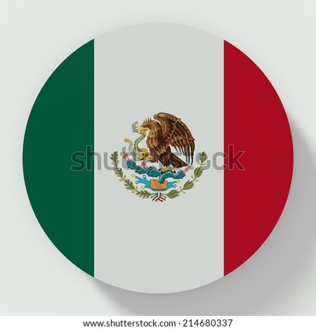 button flat design with flag of mexico - stock photo
