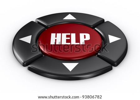 button help on white background. Isolated 3D image - stock photo