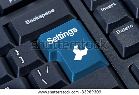 Button keypad settings with wrench icon. Internet concept. - stock photo