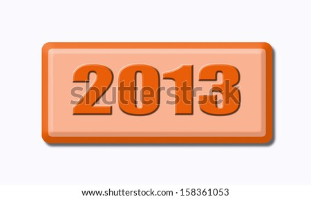 Button of 2013 isolated on white background - stock photo