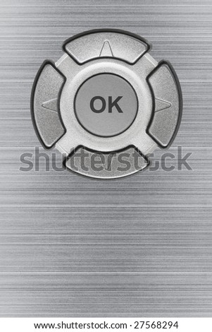 Button ok and metal texture, abstract technology background - stock photo