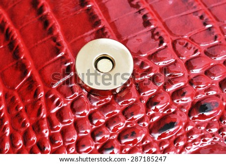 button on a leather background - stock photo