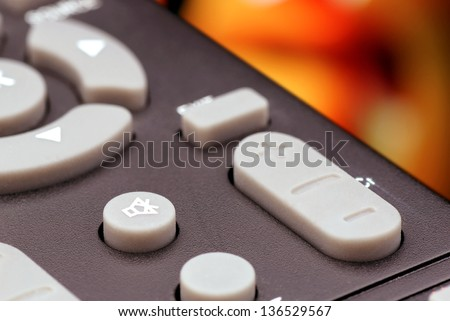 Button on the television remote control.(mute and switching program). - stock photo