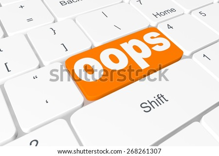 "Button ""oops"" on keyboard - stock photo"
