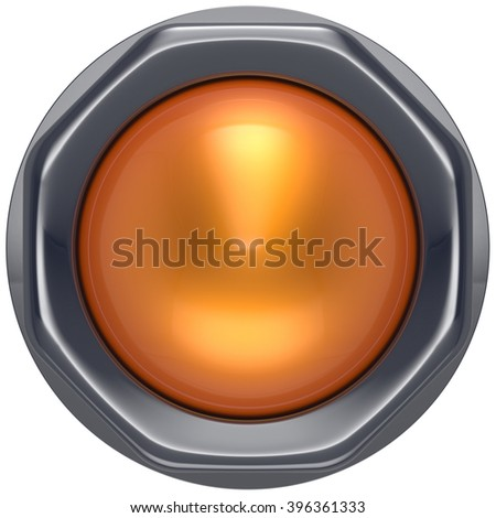 Button orange start turn off on action push down activate ignition power switch electric design element metallic shiny blank yellow. 3d render isolated - stock photo