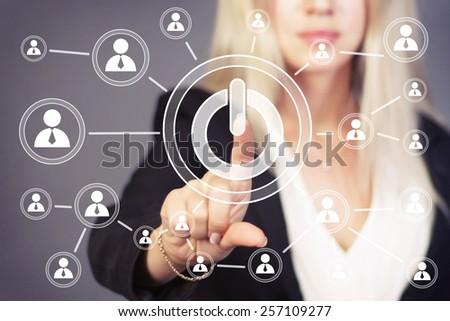 Button power business web icon - stock photo