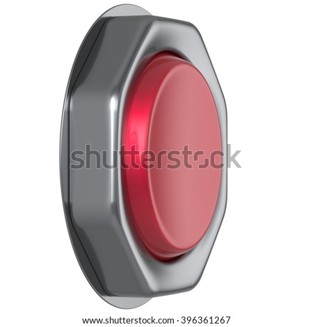 Button red start turn on off action military game panic push down activate ignition power switch electric design element metallic shiny blank led lamp. 3d render isolated - stock photo