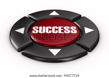 button success on white background. Isolated 3D image - stock photo