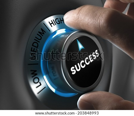 Button success pointing the high position with blur effect plus blue and grey tones. Conceptual image for illustration of company or business excellence or motivation. - stock photo