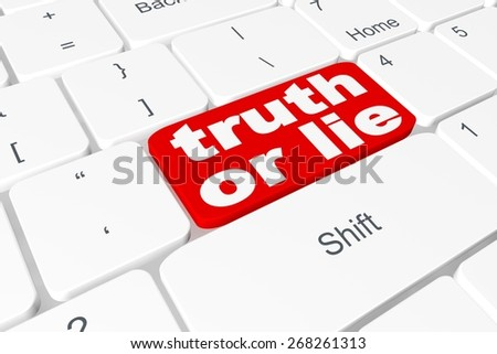 "Button ""truth or lie"" on keyboard - stock photo"
