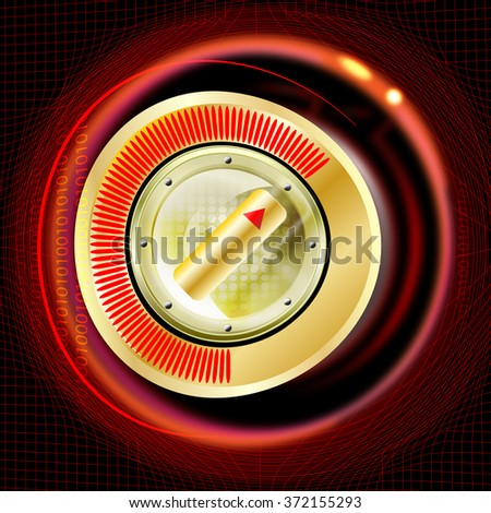 button with optical measuring and red light - stock photo