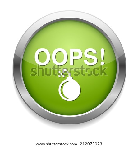 button with the word Oops - stock photo