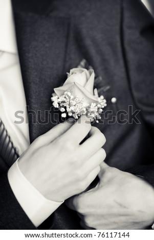 buttonhole monochrome shot - stock photo