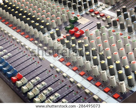 buttons equipment for sound mixer control music. - stock photo