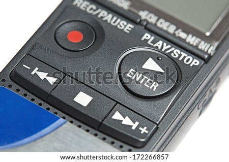 Buttons of digital dictaphone, isolated on white background, studio shot, stack shot, extreme macro, high depth of field - stock photo