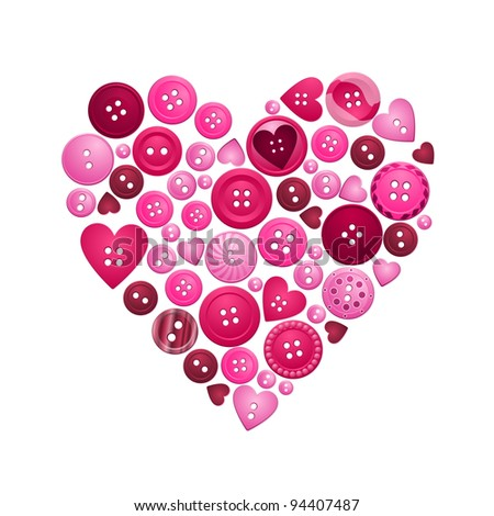 buttons of love - raster - stock photo