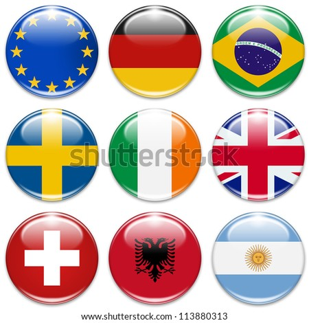 buttons of the eu, germany, brazil, sweden, ireland,united kingdom, switzerland, albania, and argentina isolated on white - stock photo
