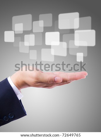 buttons on hand - stock photo