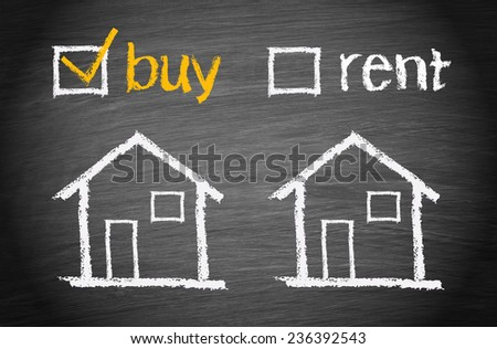 Buy a House - Real Estate concept chalkboard - stock photo