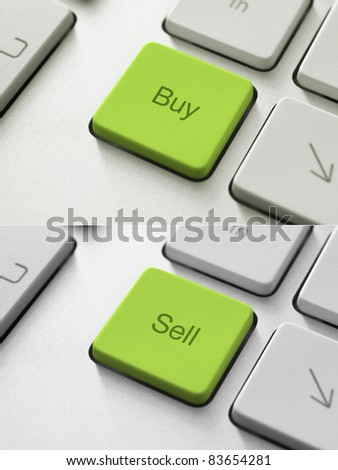 Buy and Sell button on the keyboard. Toned Image. - stock photo