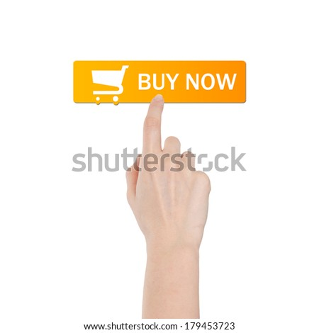 Buy button with real hand isolated on white background - stock photo