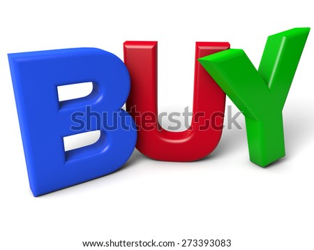 Buy - colorful letters over white background - stock photo