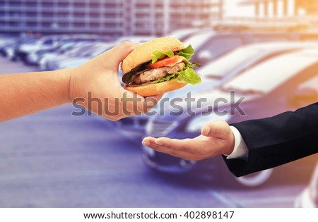 buy hamburger , drive through concept background - stock photo