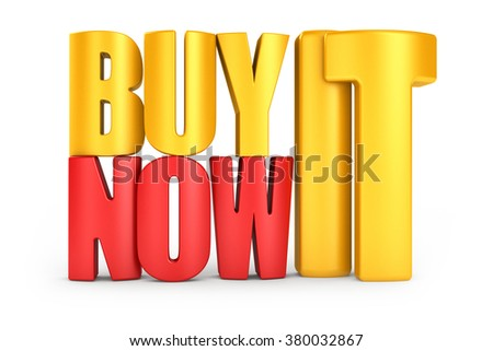 Buy it now 3d text in color letters isolated over white background - stock photo