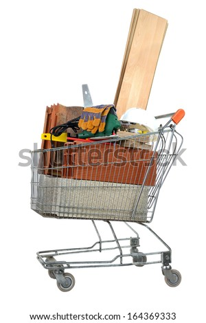 buy masonry materials to build his house - stock photo