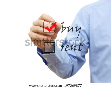Buy not rent concept on checklist - stock photo
