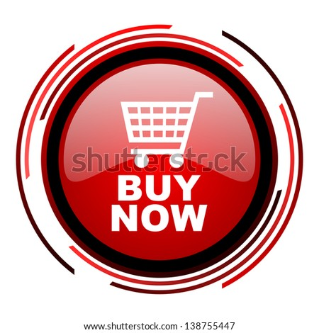buy now red circle web glossy icon on white background  - stock photo