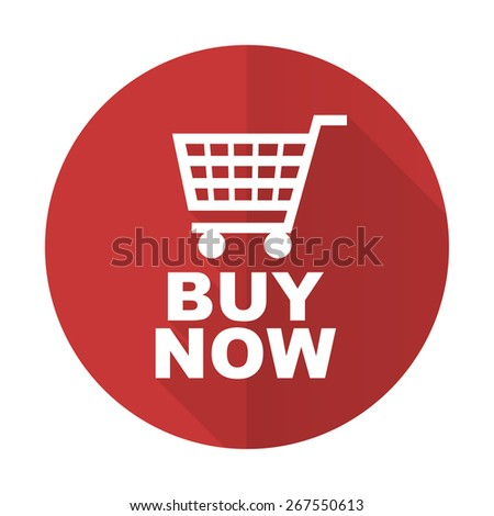 buy now red flat icon   - stock photo