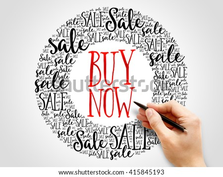 BUY NOW sale words cloud, business concept background - stock photo