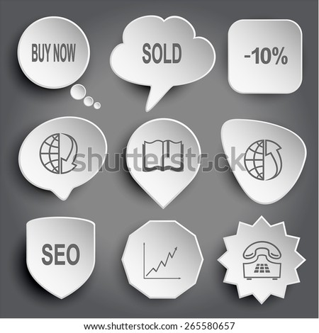 buy now, sold, -10%, globe and array down, book, globe and array up, seo, diagram, push-button telephone. White raster buttons on gray. - stock photo