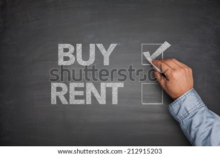 Buy or rent on Blackboard - stock photo