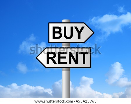 Buy or rent on signpost against blue sky - stock photo