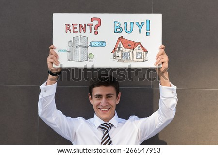 Buy or rent realty. Businessman thinking and choosing, Mortgage concept - stock photo