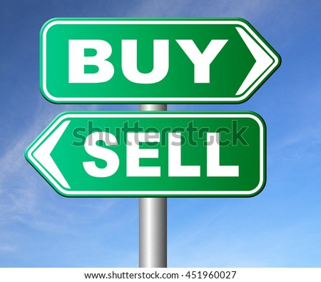 buy or sell market share buying or selling on stock market exchange international trade road sign text 3D illustration, isolated, on white  - stock photo
