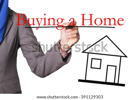 Buying a Home - House with text and Businesswoman hand with pen - stock photo