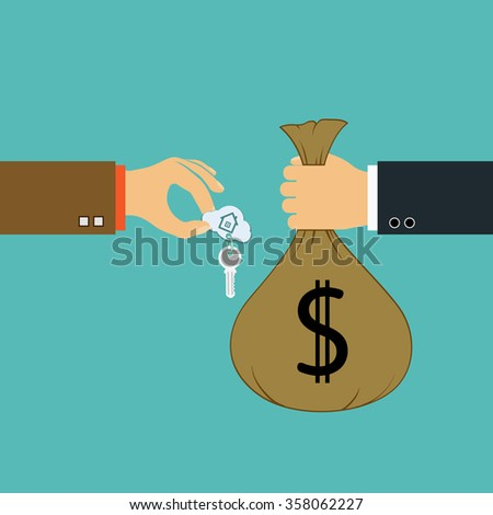 Buying a property. Two men are holding a key and money. Stock illustration. - stock photo