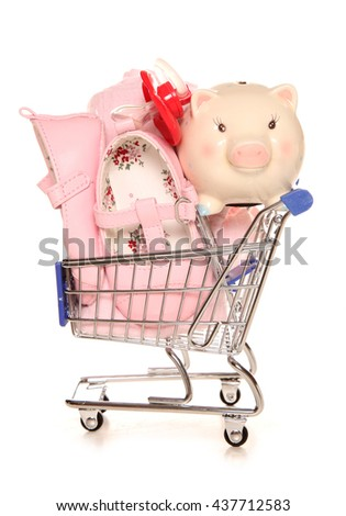 Buying for your new baby shopping trolley cutout - stock photo